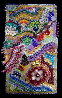 improvisational bead embroidery by Kathy Hinkle, photo by Robin Atkins