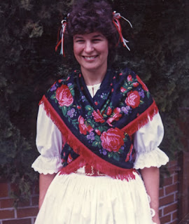 Robin Atkins in costume for first performance with Hungarian folk dance group; 1983