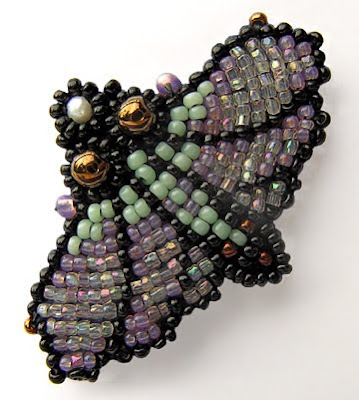 bead embroidery, moth pin, by Robin Atkins, edited photo