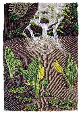 bead embroidery, landscape, by Robin Atkins, waterfall and skunk cabbage