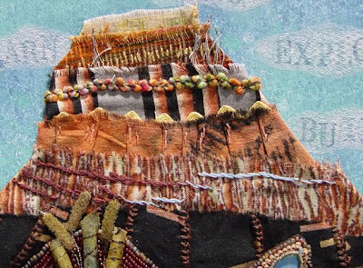 bead embroidery collage by Robin Atkins, bead journal project, detail of layered fabric butte