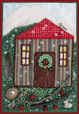 bead embroidery by Robin Atkins, Light Within, door closed