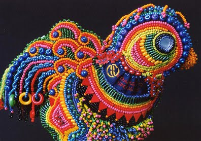 bead embroidery by Robin Atkins, Rosie The Uncaged Hen, detail