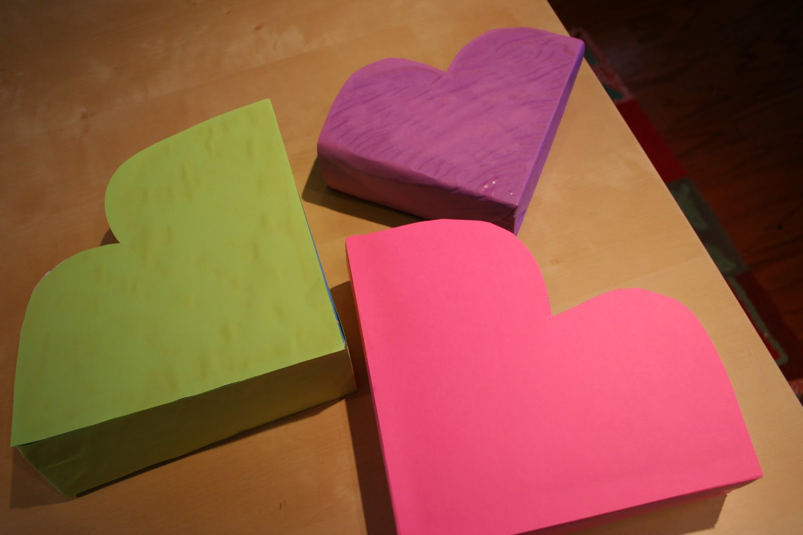 Pink And Green Mama Re Cycled Cereal Box Heart Shaped