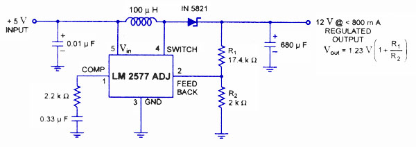 LM2575 and LM2577 Regulator Switching Circuit | Power Supply Diagram and Circuit