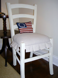 chair makeover with pleated drop cloth skirt