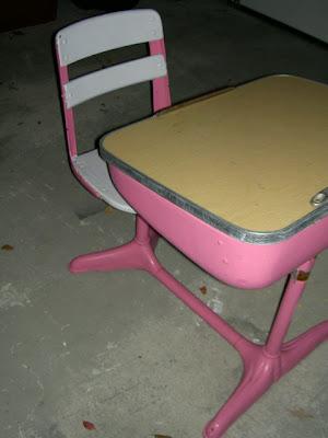 vintage pink schooldesk