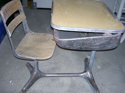 vintage schooldesk stripped