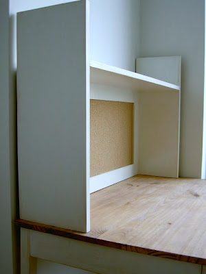 simple desk hutch with corkboard