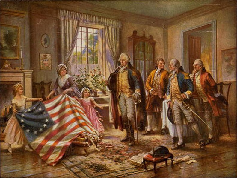 Betsy Ross showing the United States flag to George Washington and others