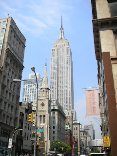 The Empire State Building in New York City, taken from 5th Avenue.