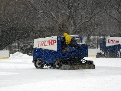 Zambonis on the Ice at Wollman Rink