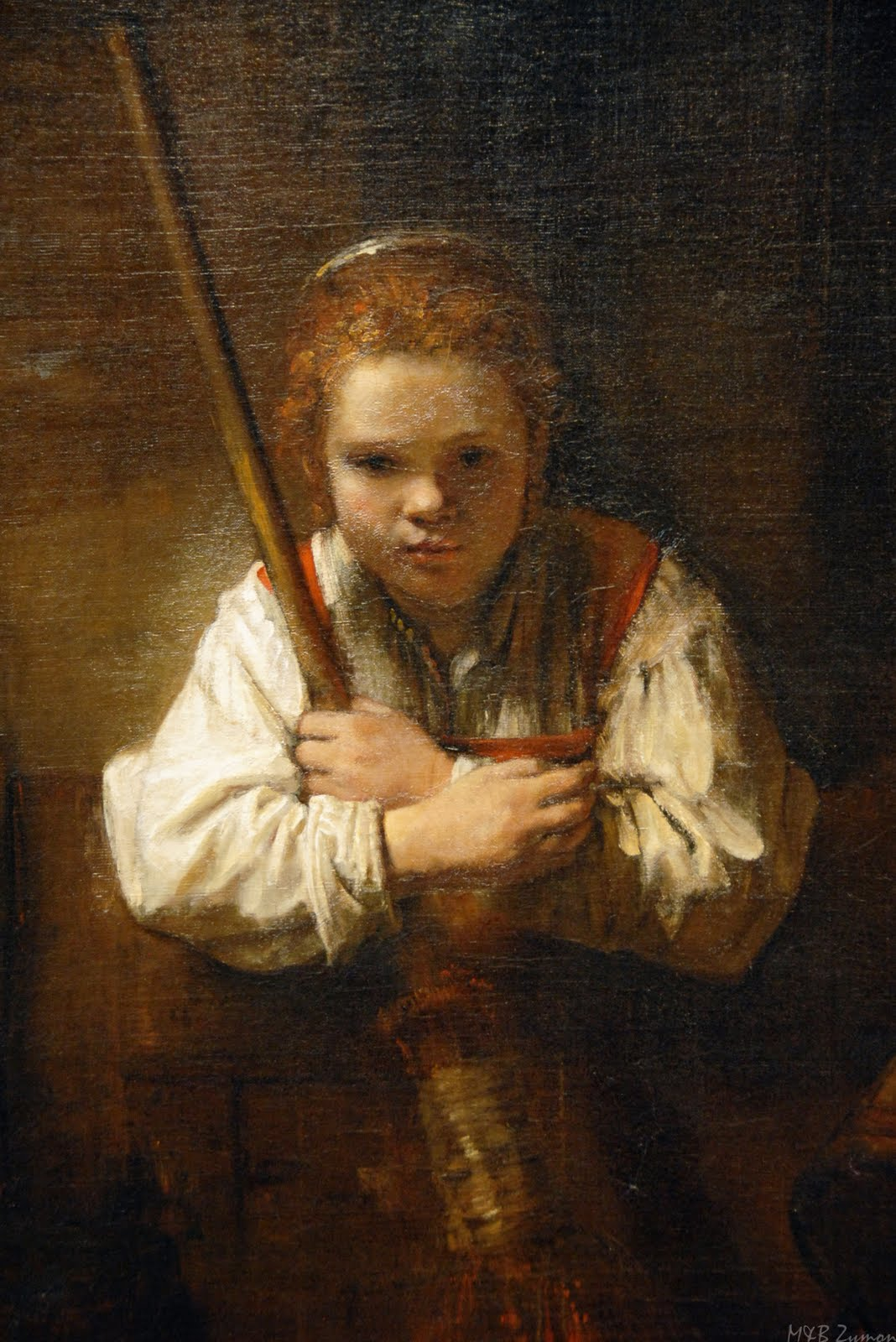 A Girl with a Broom Carel Fabritius