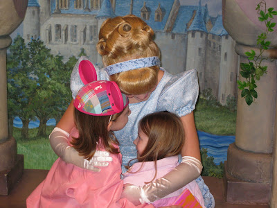 Disneyland - Cinderella hugging the Litster Princesses