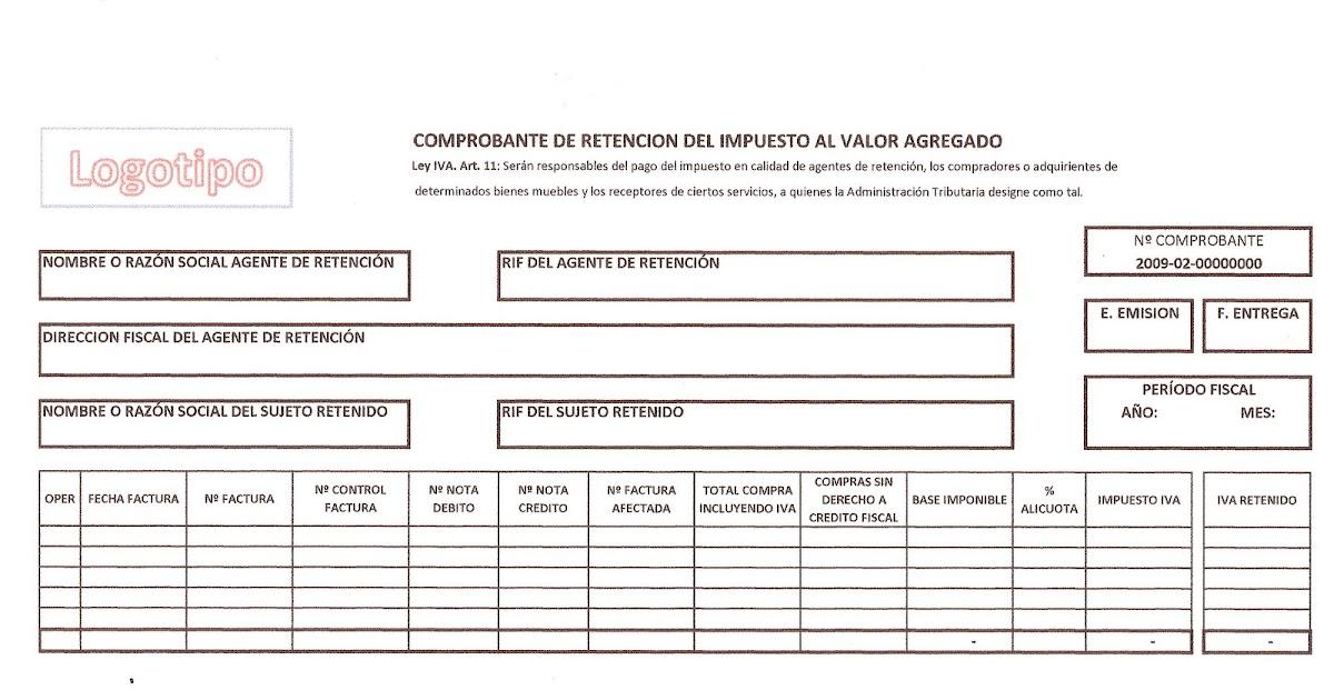 Formato Comprobante Retención IVA - formato nota de credito