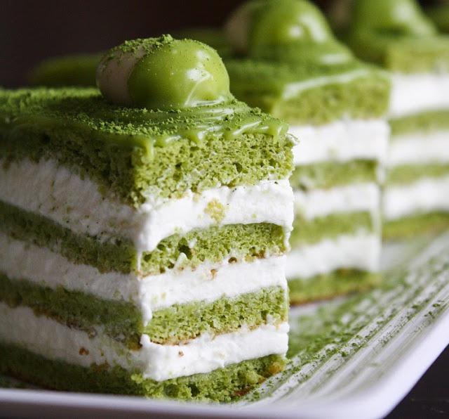 Matcha Green Tea Cake With Azuki Beans