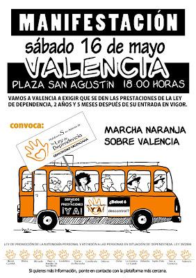 Cartel de la Marcha Naranja a Valencia del día 16 de mayo