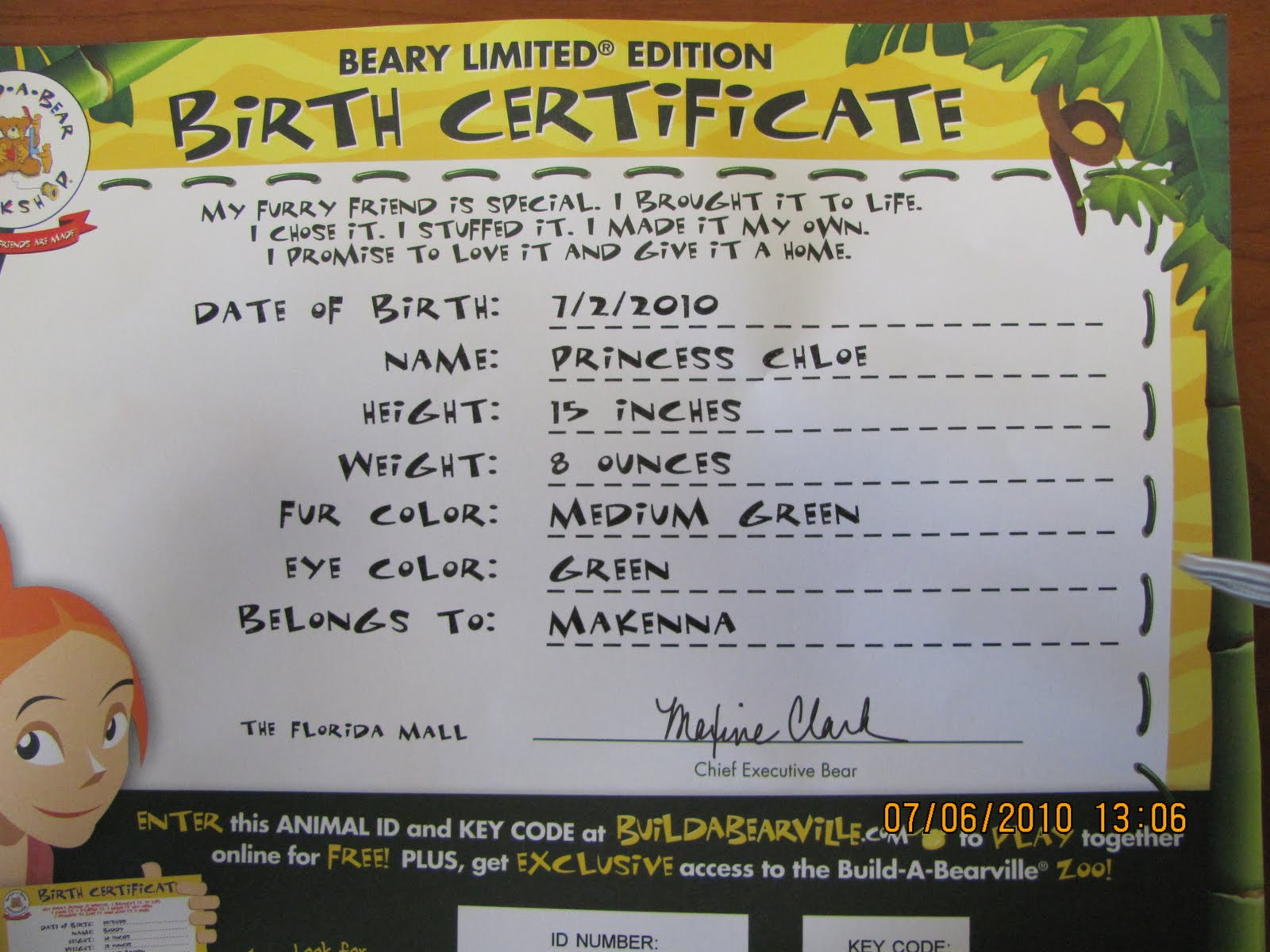 Build a bear adoption certificate for Build a bear birth certificate template
