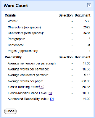 Free Technology for Teachers: Reading Levels in Google Docs