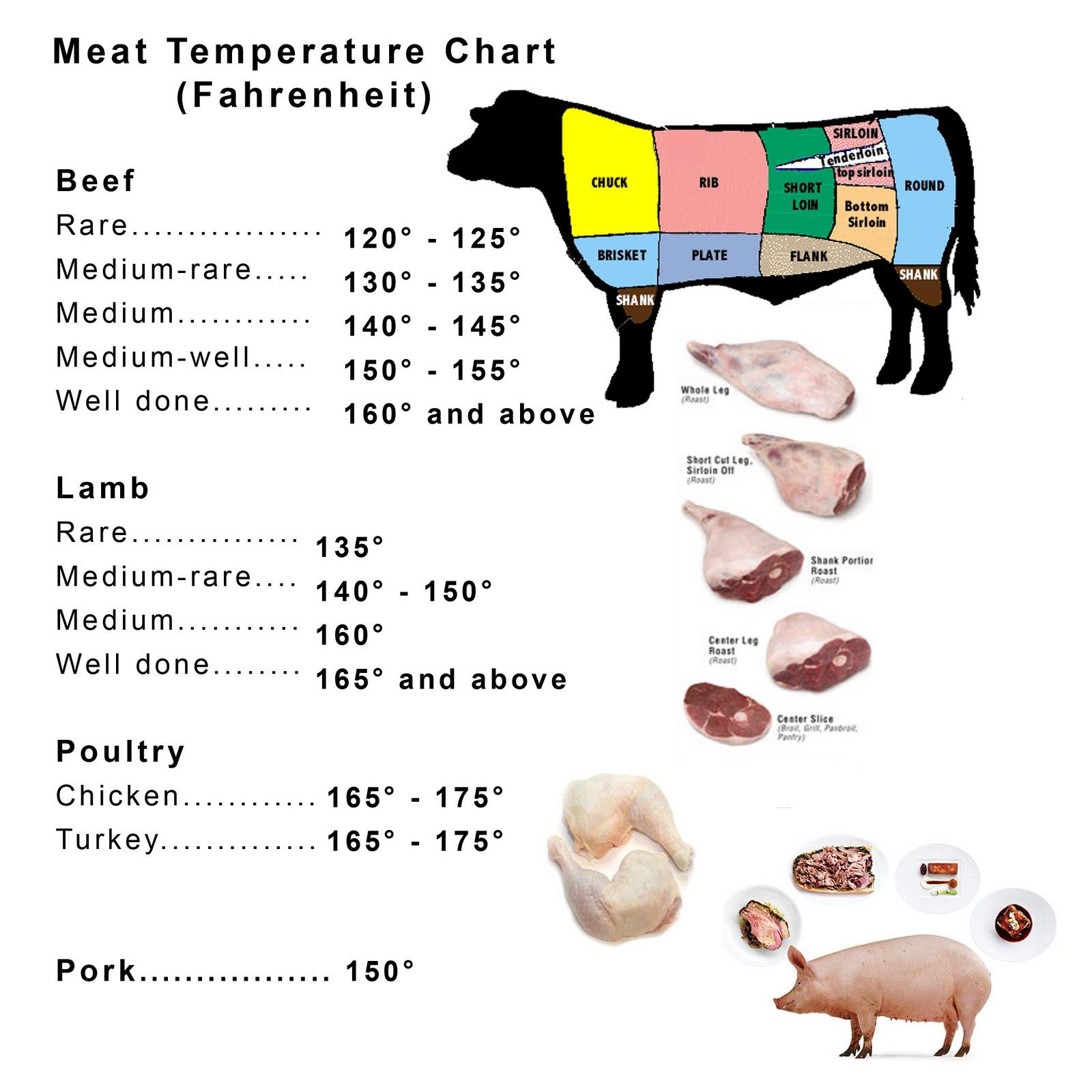 Great Homemade Recipes: Meat Temperature Chart (Fahrenheit)