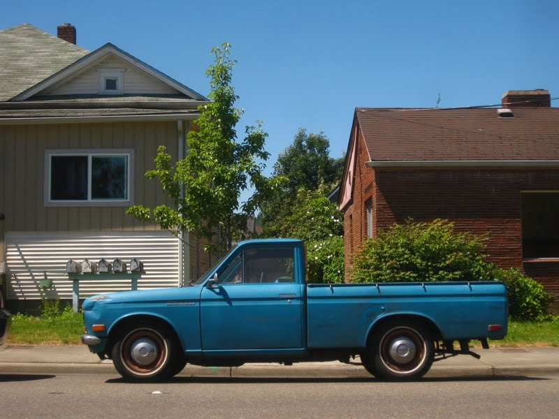 OLD PARKED CARS Little Blue Pickup #2 1969 Datsun 1600 Pickup