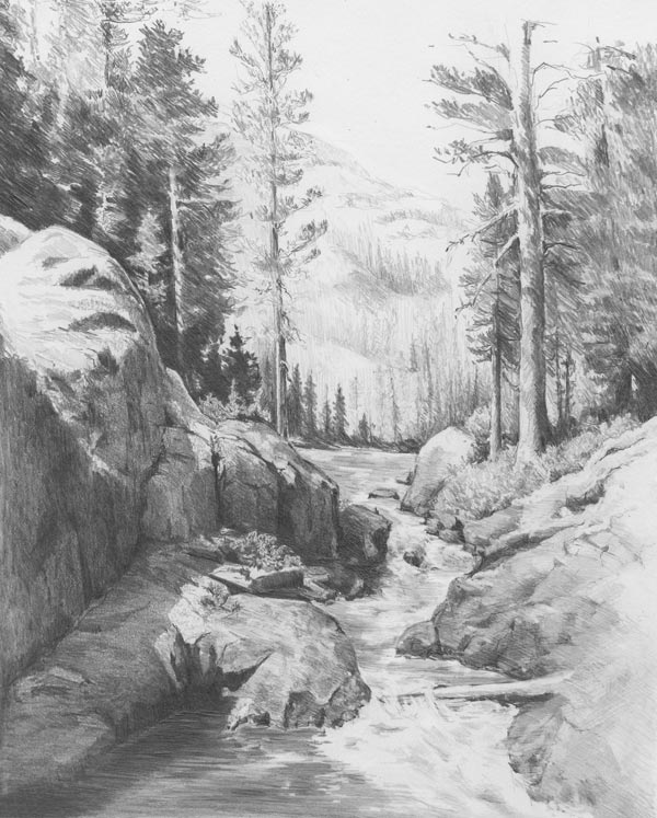 It's just a picture of Punchy Landscape Drawing In Pencil