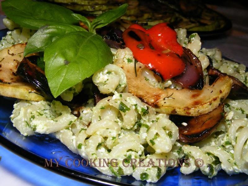 Паста с песто дженовезе и зеленчуци на скара * Pasta al pesto e verdure grigliate