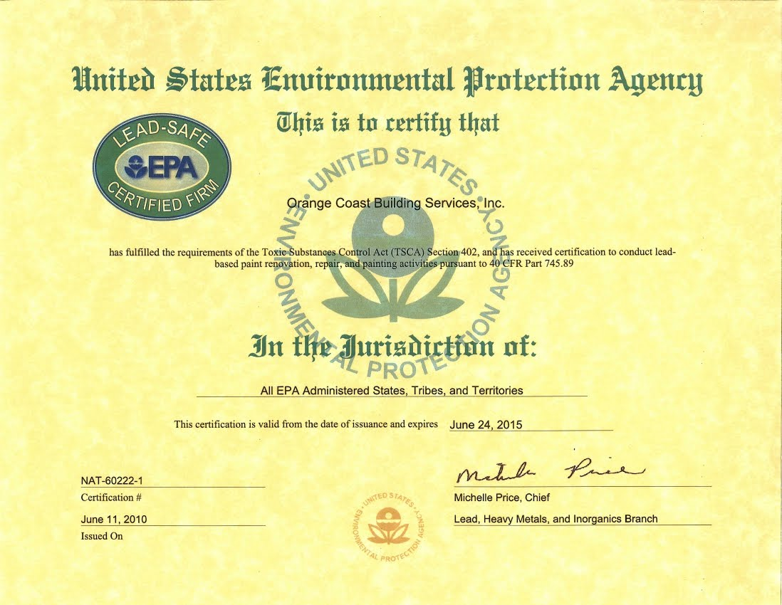 Orange Coast Building Services Lead Safe Epa Certified