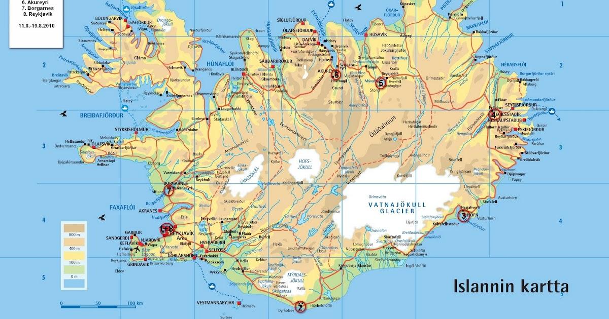 Matkalla Islannissa Kartta Matkareitistamme