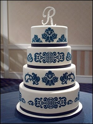 Wedding Cakes Pictures Blue Damask Wedding Cakes Pictures