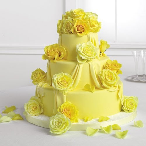 Wedding Cakes With Purple And Yellow Flowers
