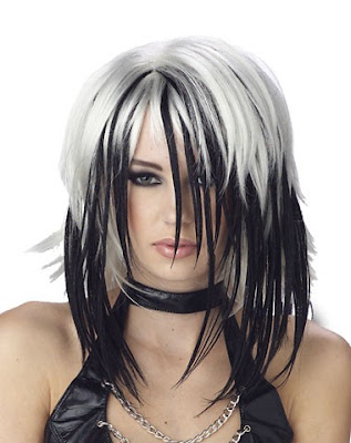 simple hair style black n white long shag