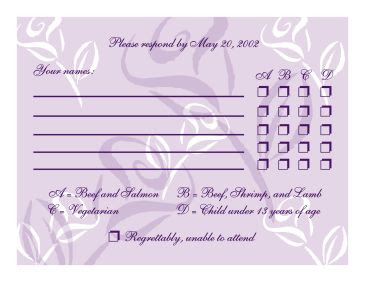 A Complete Rsvp Cards Including The Menu To Choice