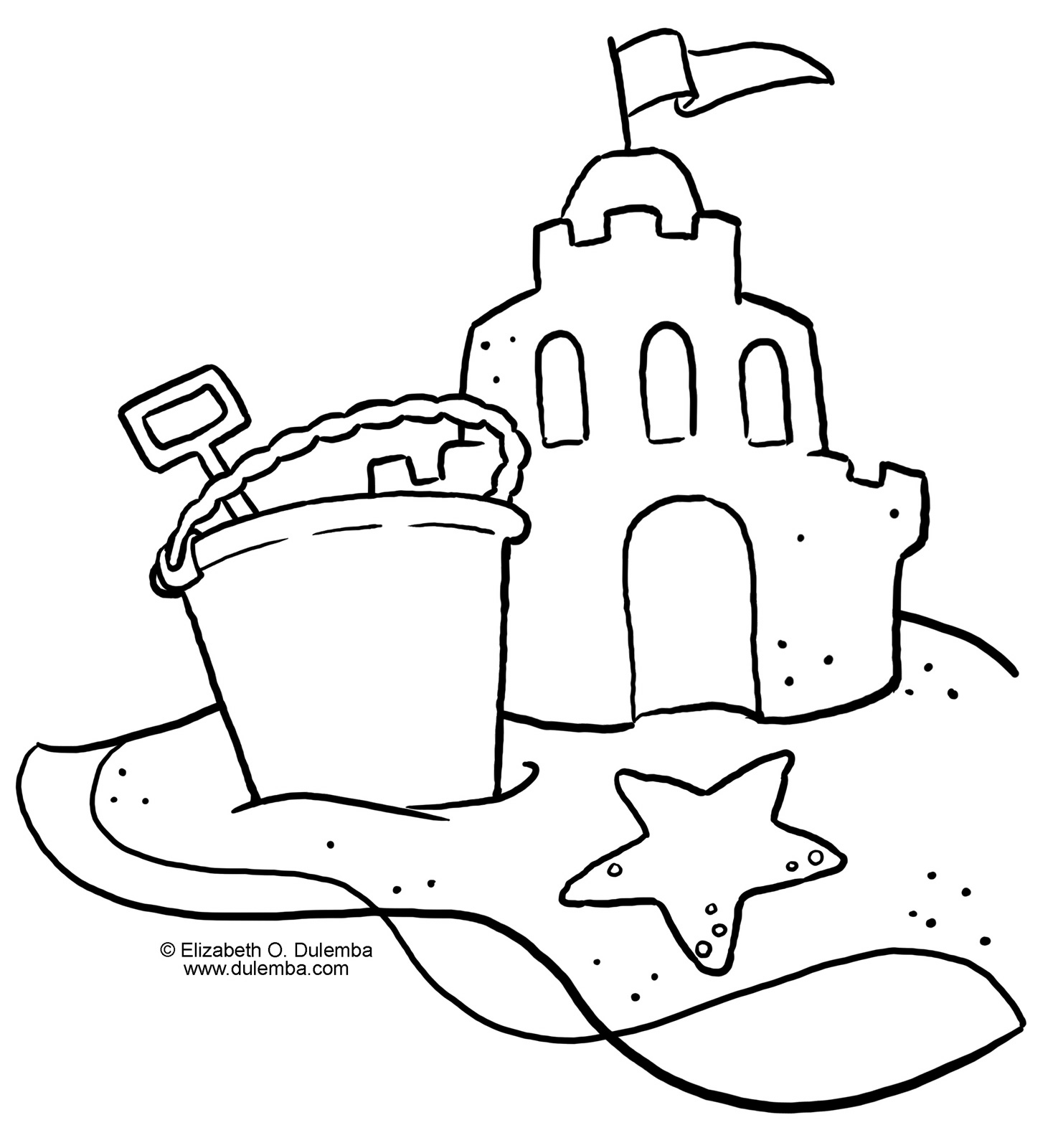 Free Sandcastle Coloring Page, Download Free Clip Art, Free Clip ... | 1600x1468