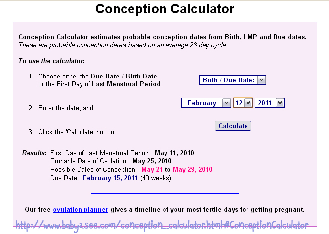 Baby due date based on conception calculator