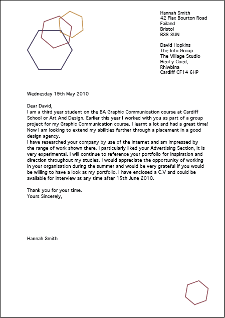 Hannah smith reflective journal cover letter for Covering letter for work experience