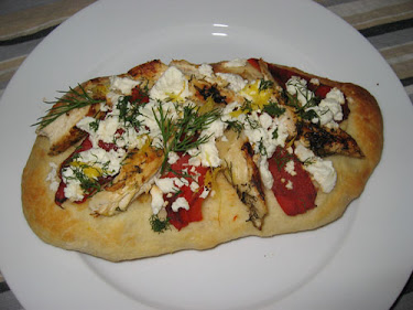 Focaccia with Lemon and Dill Marinated Grilled Chicken, Roasted Red Peppers and Feta