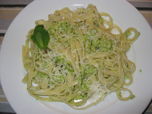 Fava Bean Pesto on Fettucini
