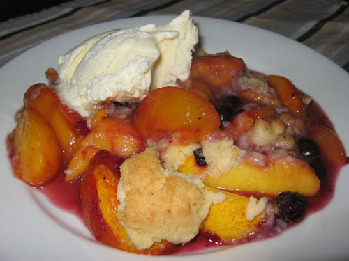 Peach and Blueberry Cobbler