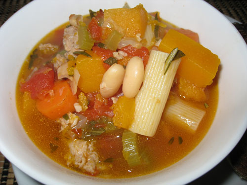 Minestrone Soup with Sausage and Squash