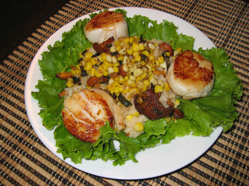 Chanterelle and Corn Risotto with Scallops