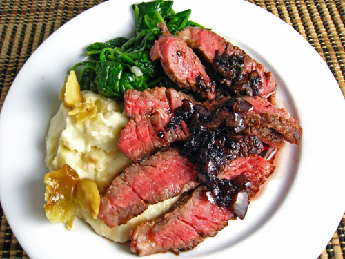 Ribeye Steak in Red Wine Sauce