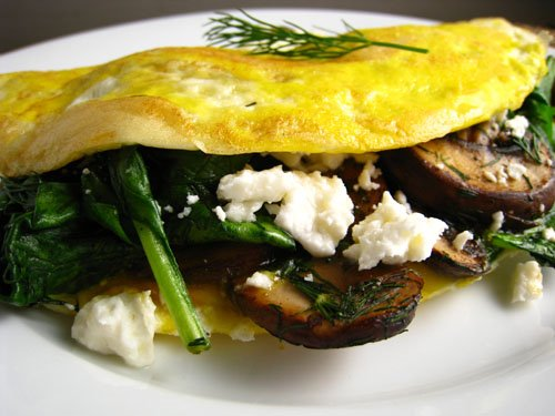 Mushroom, Spinach and Feta Omelet
