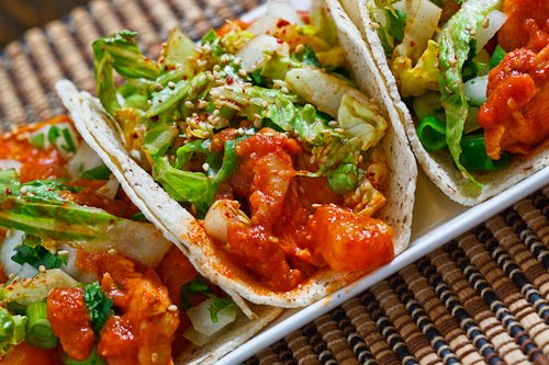 Pineapple Dak Bulgogi Tacos (Korean Spicy Pineapple BBQ Chicken Tacos)