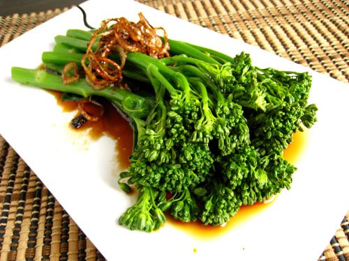 Broccolini with Fried Shallots and Oyster Sauce