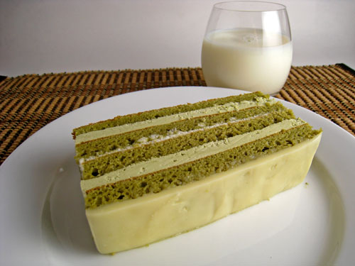 Green Tea and White Chocolate Opera Cake, Large Slice