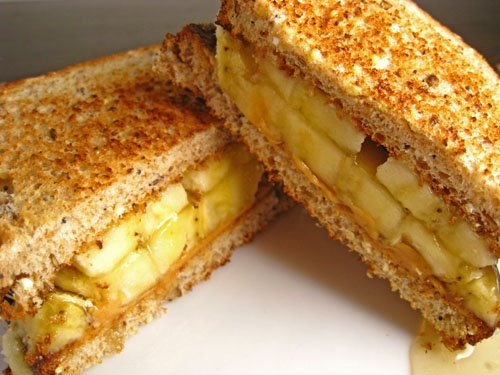 Peanut Butter, Banana and Honey Sandwiches
