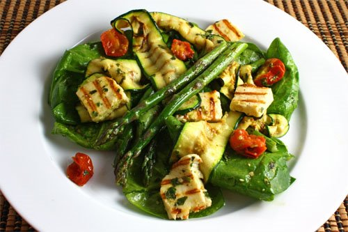 Grilled Asparagus, Zucchini and Halloumi Salad