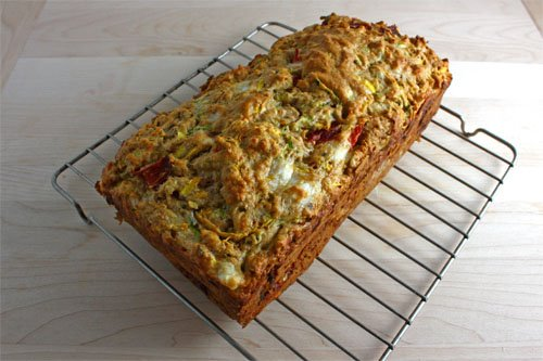 Zucchini Bread with Roasted Red Peppers and Feta, Cooling