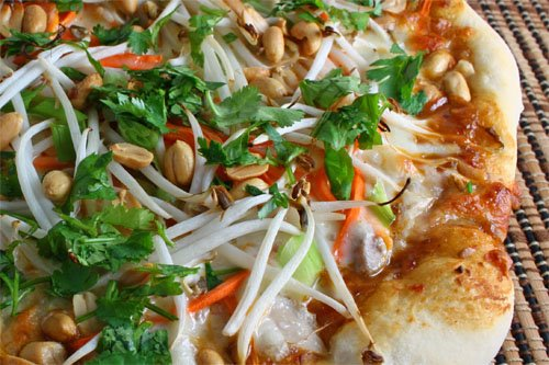Thai Chicken Pizza with Spicy Peanut Sauce